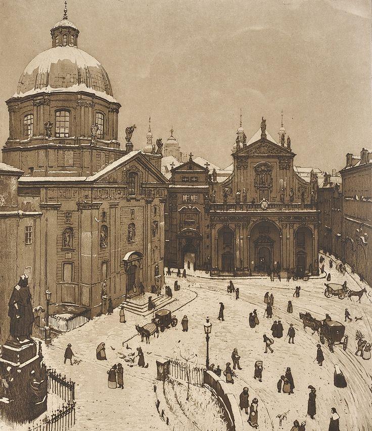 "amare-habeo: ""  Richard Teschner (Austrian, 1879—1948) Little Square in winter, 1905-1907 Aquatint, paper, 390 x 317 mm """