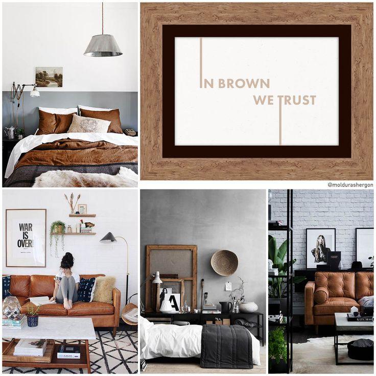 Un sofá de cuero, unas molduras de madera o una manta de lana beig ¡Añade calor a tu decoración estilo Warm Industrial con los marrones! Moldura rústica color nogal (ref. 272-163)