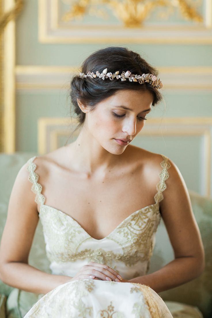 Swoon over jannie baltzer s wild nature bridal headpiece collection - Alchemy Gold Lace Coutre Wedding Dress By Claire Pettibone Headpiece Lila Photo Katy