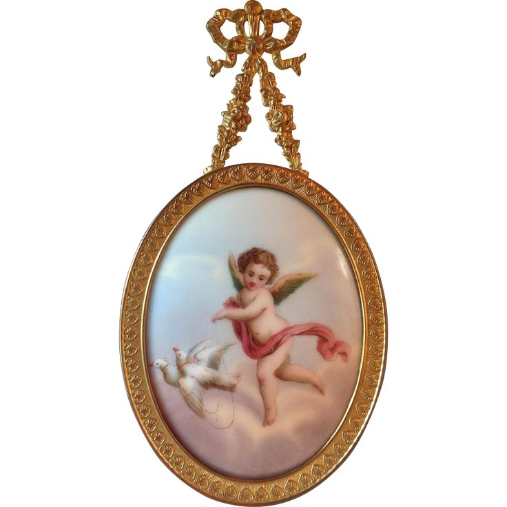 Antique Portrait Miniature Painting on Porcelain Cherub Putti w/ Doves French Gilt Frame