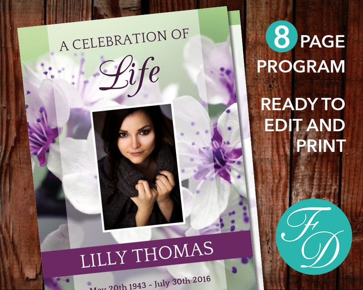 175 best 8 Page Funeral Program Templates images on Pinterest - free printable memorial service programs