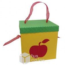 Caja Amarilla con tapa Verde, Manzana Roja y cinta