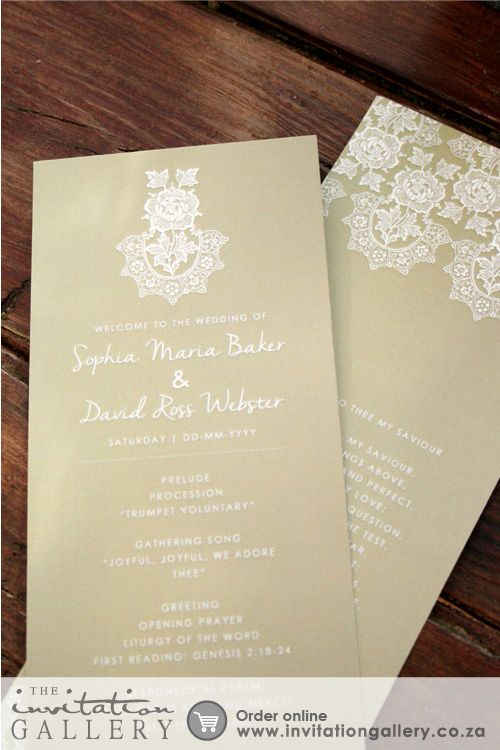Programme card with delicate lace patterns • Colours and text are customisable • Order at: http://www.invitationgallery.co.za/wedding-invitations-and-stationery/details/MPC001-029