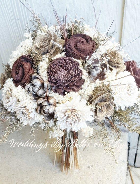 BRIDESMAID FLOWERGIRL HANDTIED WEDDING BOUQUET IN BROWN /& IVORY,
