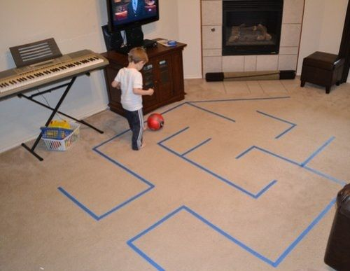 """Indoor recess activity!  willoughbywallabywoo:    """"Duct Tape Maze""""    In the game, you can use the ball, hoop, balloons.  With tape you can think of a lot of educational games for kids. For example, it can help to train the child's gross motor skills. Of duct tape can stick classics or labyrinth. A child can walk on a path, jump, jump, step over, etc.      Looks like this could be a fun activity for indoor recess."""