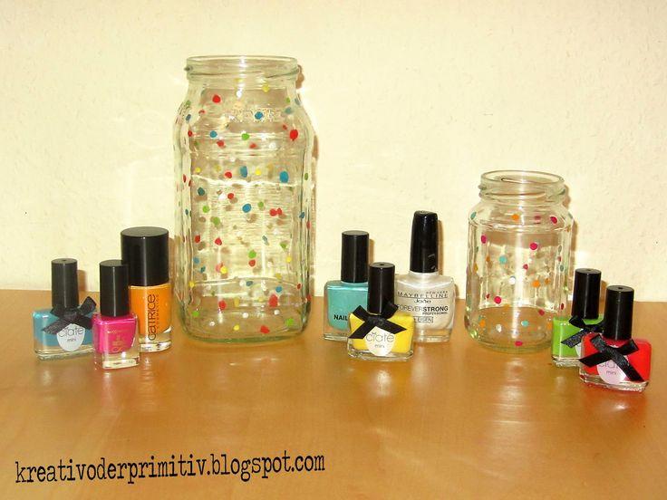 Einmachglas, Marmeladeglas, Glas, Recycling, Upcycling, Nagellack, Punkte, Vase, Windlicht, deko, idee, DIY, selber machen, basteln, dekorieren