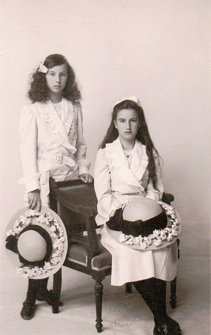 Princesses Nina and Xenia Georgievna, daughters of Grand Duke Georgiy Mikhailovich. The two moved with their Mother out of Russia prior to the Revolution. Their father was killed by Bolsheviks. They ended up in America. Where Xenia invited Anastasia claimant Anna Anderson. She recognized her as her Imperial cousin while her sister Nina did not.