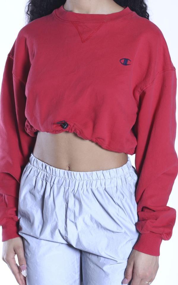 Vintage Rework Champion Cinched Crop Sweatshirt Crop Sweatshirt Sweatshirts Casual Outfits