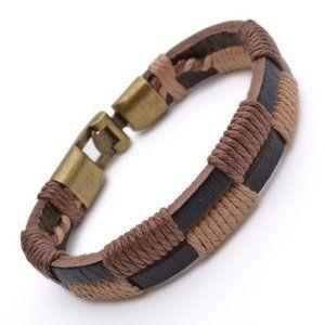 Tribal Leather Wristband Surf brown black Mens Bracelet