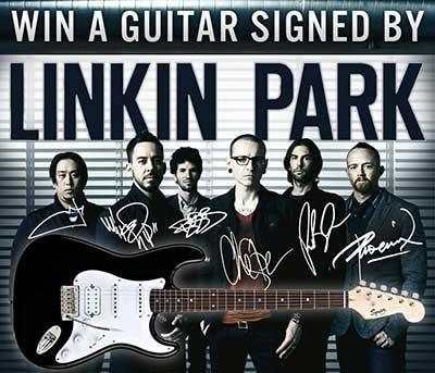 Win a Fender Squier Bullet Strat HSS guitar signed by Linkin Park.   Restrictions: 18+, USA  Expires: July 9, 2012. http://shopaneer.com/forums/topic/4307/fender-squier-bullet-strat-hss-g