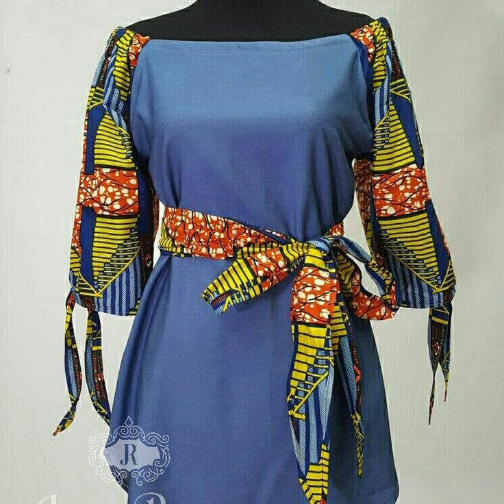 African clothing top denim Ankara off shoulder top Ankara top denim blouse patchwork Chambray Off The Shoulder Knot Sleeve Blouse