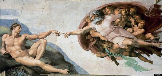 """'A Criação de Adão' (1510), de Michelangelo """"O que vemos aqui não é a criação física do primeiro humano, mas o momento metafísico, quando a faísca da vida é transferida para Adão... Michelangelo criou um novo tipo de composição dinâmica cujo foco é uma linguagem altamente expressiva de mãos alcançando uma a outra."""""""