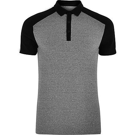 Grey and black muscle fit polo shirt £18.00