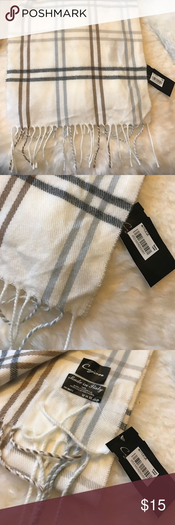 MACY's Scarf Beautiful cream scarf with tassels from Macy's in a minimalist check pattern. Tags still on and never worn. Received as a gift and have something similar. Great for spring and winter ! Macy's Accessories Scarves & Wraps