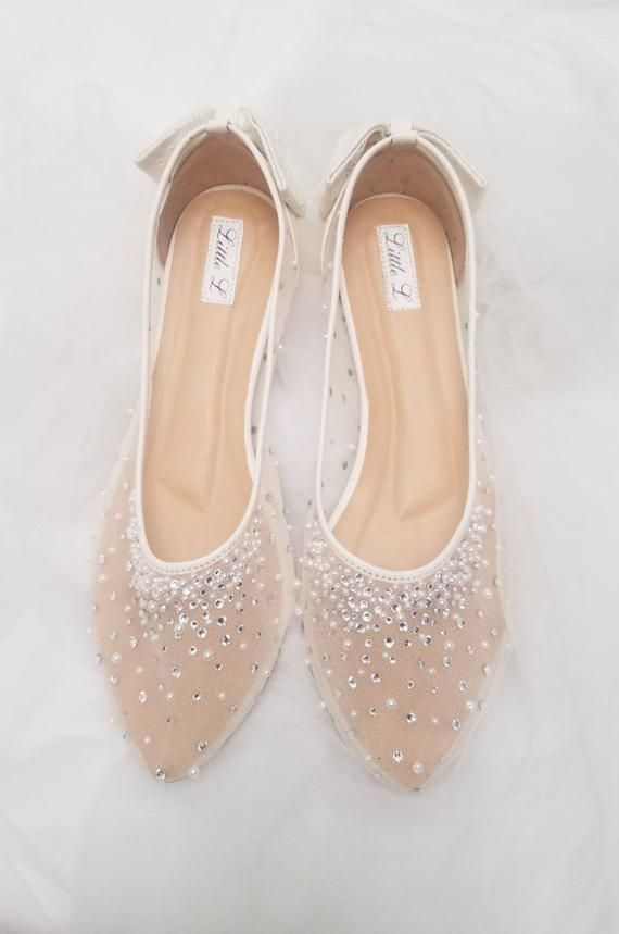 Wedding Shoes Transparent White Lace Pearl Rhinestone Ivory Crystal With Bowtie Custom Flat And Heels Beach Wedding Shoes Bridal Shoes Flats Ivory Wedding Shoes