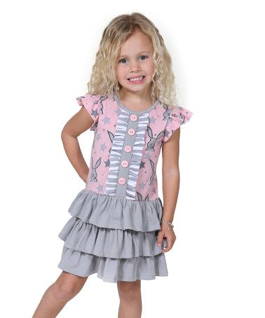 Loving this Pink & Gray Bunnies & Kitties Tara Dress - Toddler & Girls on #zulily! #zulilyfinds