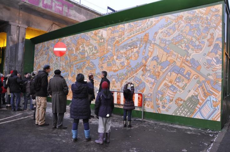 "Mural vernissage, ""Robots in Cheesetown""."