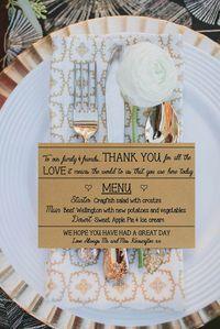 Cartes Menu mariage et Merci personnalisées par PrettyLaneWeddings