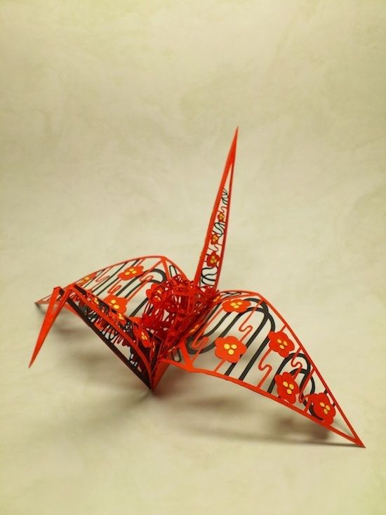 立体切り絵 折鶴 梅 3D paper cutting art: Ume. origami