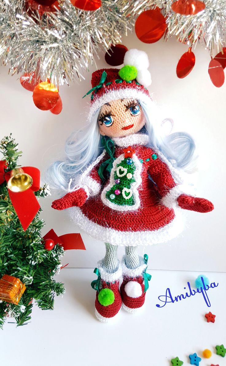 Снегурочка- Snow Maiden.  50$ #NewYears2018 #gift #Cristmasdoll #Cristmasday #amigurumidoll #kукларучнойработы #авторскаякукла #текстильнаякукла  #подарокдевочке  # kukluruchnoyraboty # authordoll # cloth_ made_doll # giftgirl