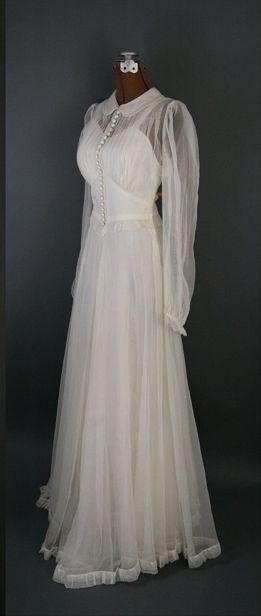 ~chiffon wedding gown, circa 1940s~ -- would make a lovely peignoir and gown set, perhaps in more suitable fabrics for lounge wear.