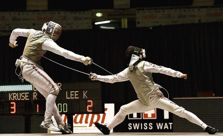 Kruse Richard vs Lee Kwanghyun in the semifinals #TurinFGP #FencingGrandPrix #fencing #roadtorio #men #foil photo:Bizzi by fencing_fie