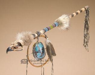 Native American Apache Medicine Stick - Hawk Skull - Turtleshell(bear)