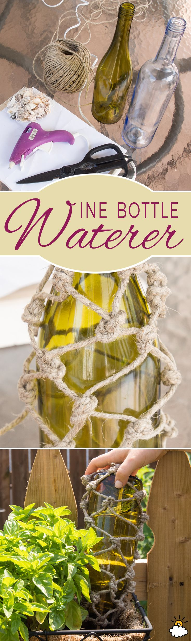 Old Wine Bottles Become Plant Water Feeders With This Clever Tutorial via LittleThings.com