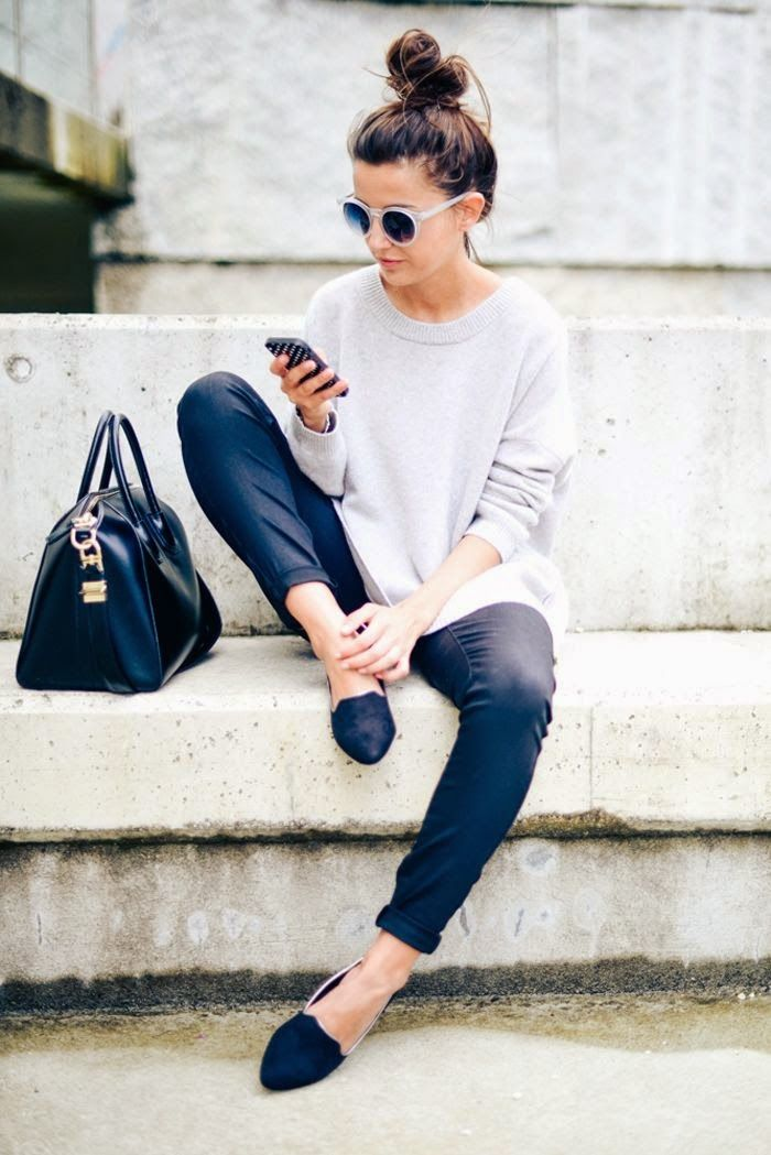chunky sweater, dark skinnies, flats, big black bag, top knot, round sunnies