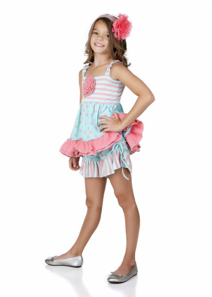 One Posh Kid Spring 15 Mint & Coral Short Set