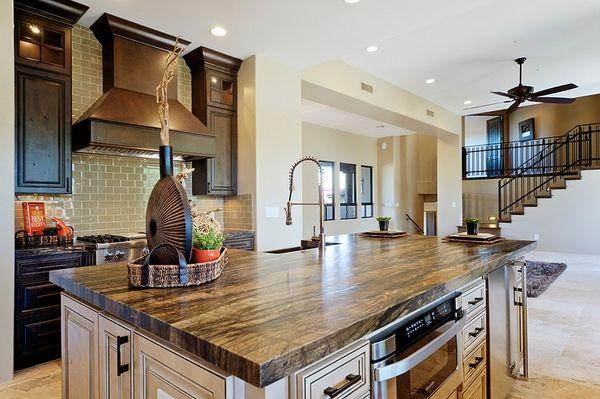 Leathered Titanium Granite Kitchen Island Kitchen Open