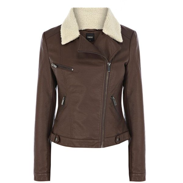 OASIS Borg Collar Faux Leather Jacket ($29) ❤ liked on Polyvore featuring outerwear, jackets, coats, coats & jackets, leather jacket, brown, vegan jackets, oasis jackets, brown jacket and brown faux-leather jackets