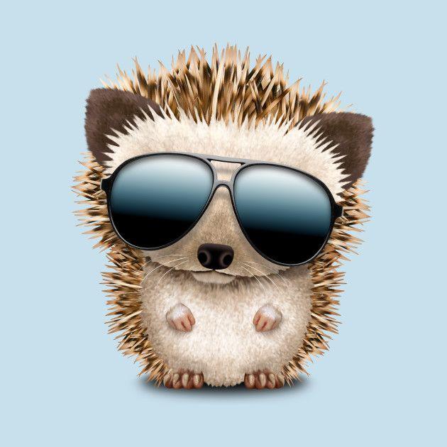 Baby Hedgehog Wearing Sunglasses Teepublic Com Baby Hedgehog Baby Animals Funny Cute Animal Drawings