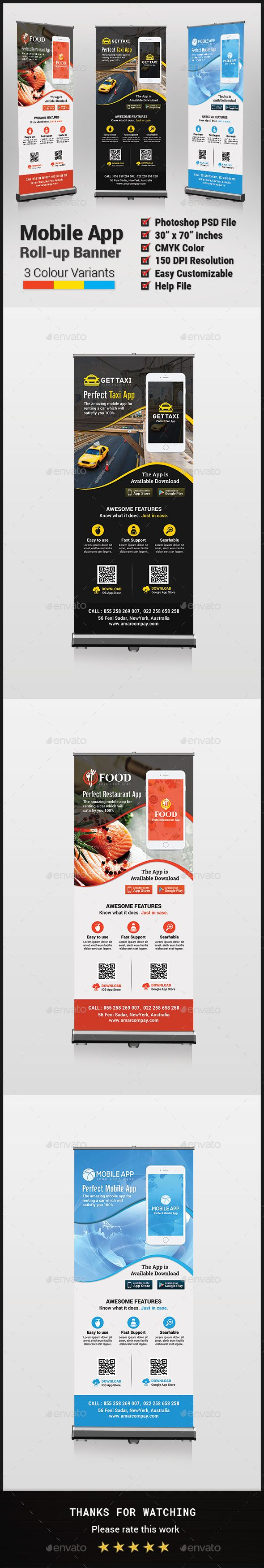 Mobile App Promotion Roll-up Banners Template PSD