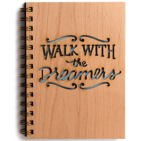 walk with the dreamers laser cut wooden cover notebook | Cardtorial