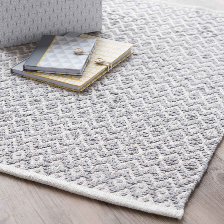Spare room or Living Room cotton rug, grey, 60 x 90 cm | Maisons du Monde