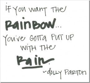 If you want the rainbow, you've gotta put up with the rain.