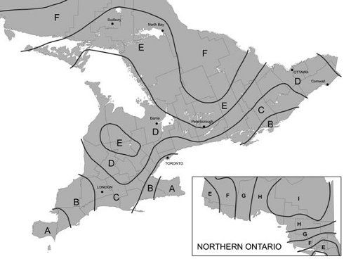 Climate Zones and Planting Dates for Vegetables in Ontario -- zone C frost-free date is May 3rd