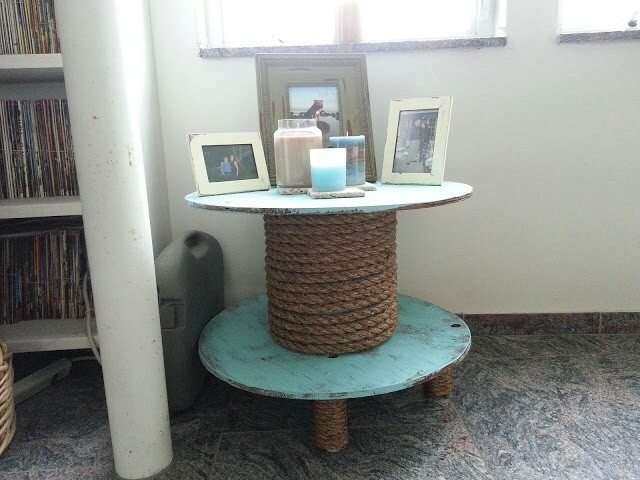 Cable reel table  found it behind my dog grooming shop  gave it a nautical  feel  made the legs from scrap wood at home depot and put furniture feet on. 118 best images about DIY Furniture Projects on Pinterest