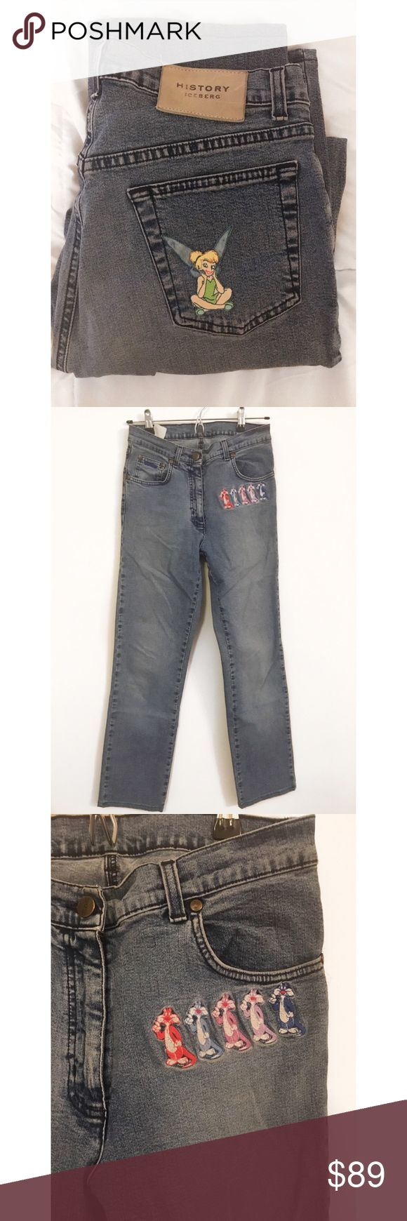 "Vintage History Iceberg jeans size 28 Awesome and funky pair of vintage History iceberg jeans size 28. Sylvester j jr on front and tinker bell on back. Inseam 29"". Rise laying flat 13""straight leg and stretchy. Bottom leg width is 71/2"". Like new history iceberg Jeans Straight Leg"