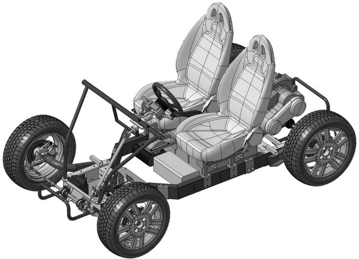The DIY Tabby two passenger chassis can be assembled in less than 60 minutes