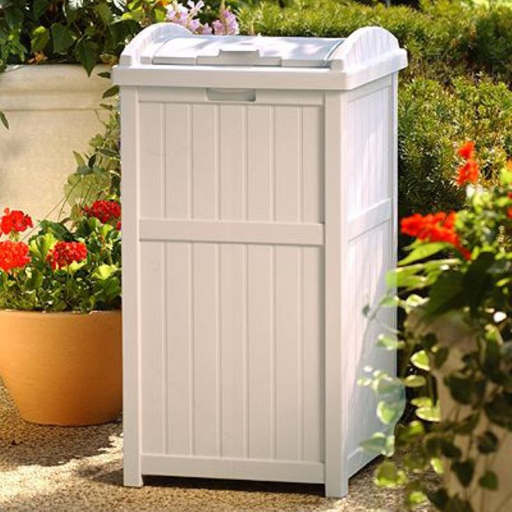 Suncast Trash Hideaway Plastic 33 Gallon Outdoor Trash Can - GH1732