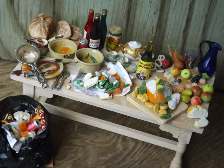 dollhouse miniature table showing the leftovers from xmas dinner , handmade in 1/12 scale by farmhouseminiatures on Etsy
