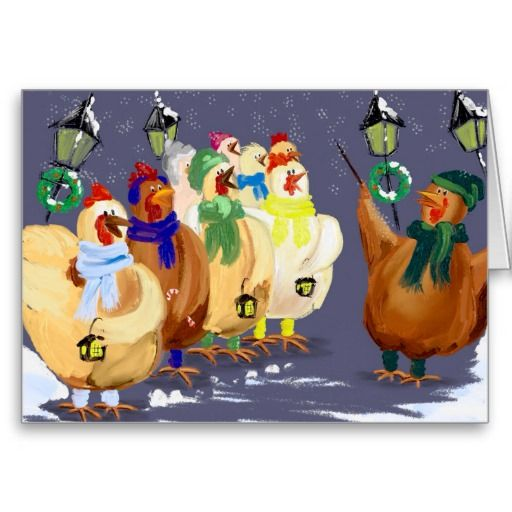 Christmas Carolling Chickens card - use my wording or make it personal by adding your own. You won't find this pic anywhere else - it was designed especially for me. :)