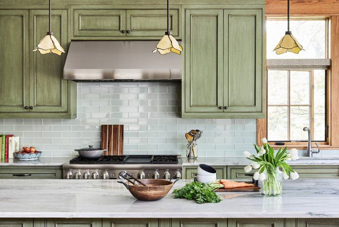 Summery Mittler Green Stained Cabinet Doors And The Palest Green Hued Glass Tile Backsplash L Green Cabinets Green Kitchen Cabinets Blue Gray Kitchen Cabinets
