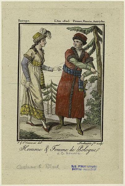 """Description Français : Homme & femme de Pologne. English: Printed on border: """"Europe."""" """"L'An 1805 Prusse, Russie, Autriche."""" Grasset de Saint-Sauveur, Jacques, 1757-1810 -- Artist Date1805 Jacques Grasset de Saint-Sauveur, (1757-1810)"""