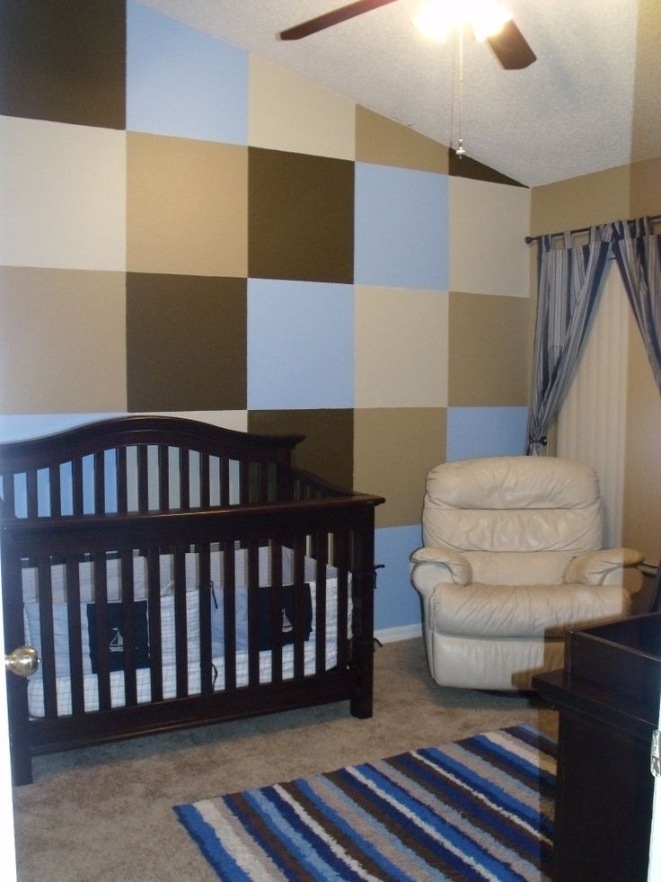Nursery idea for a boy love the accent wall blue brown for Boys room accent wall