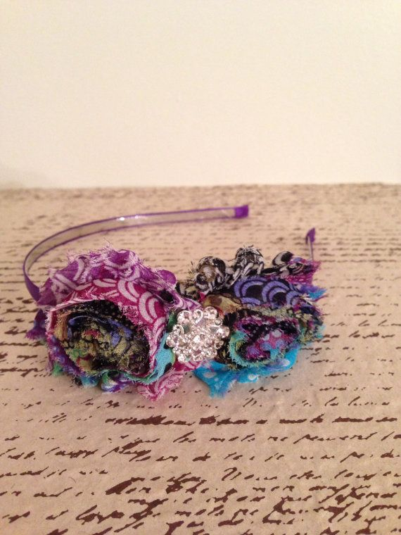 Multi color shabby chic flower hard headband by DonnaBellaBows, $10.95