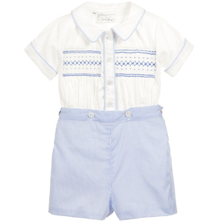 Rachel Riley Hand Smocked Traditional Heritage Buster Suit at Childrensalon.com