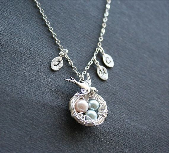 Bird Nest Necklace Silver Bird Necklace Pink and by smilesophie